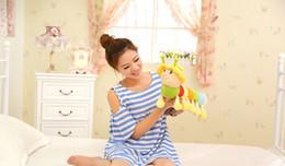 Wholesale 45cm plush animals insect caterpillar pp cotton stuffed multicolor caterpillar yellow hat kids toys