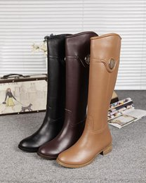 Wholesale Winter Warm Martin Riding Boots Fashion Knee High Boots for Women Zipper Gold Buckle Zip Leather Shoes Sz