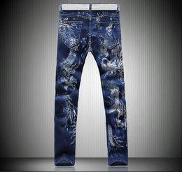 New sales 3D Graphic Lucky Dragon Skinny Jeans Mens Vintage Hiphop Casual Designer Tiger Denim Joggers Punk Pants mix order