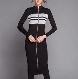 2016 noir cardigan tricoté de haute qualité 50% laine 2016 nouveaux automne contraste rayé d'hiver couleur longue robe noire crayon cru mince tricot cardigan femmes noir cardigan tricoté sortie