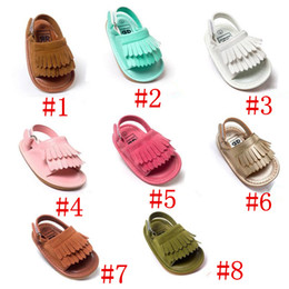 Wholesale 2016 New Summer baby moccasins tassel sandals moccs baby shoes Leather prewalker Infant Babies Shoes for Girls and Boys pair