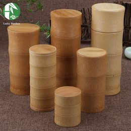 Wholesale Bamboo Tea Box Kitchen Storage Bottles Style Tea Canister Caddy Seal Storage Jars NEW Chinese Handmade Arts and Crafts
