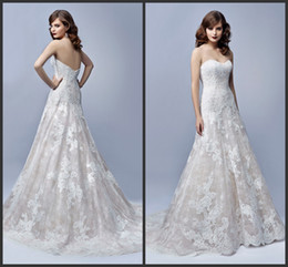 Wholesale A Line Enzoani Wedding Dresses Back Zipper EG Joy Sweetheart Sleeveless Corded Embroidered Lace Appliques Bridal Gowns Court Train
