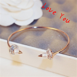 New Designer Crystal Pearl Open Bangles & Bracelets Rose Gold Plated Punk Bangles Fine Jewelry Fashion Accessories