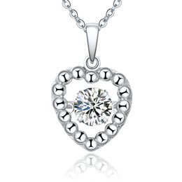 New Fashion Heart 925 Sterling Silver Dancing Diamond Pendant Necklace for Women Jewelry Wholesale with Created Diamond CZ NP88030A