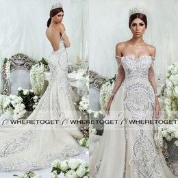 Wholesale Dar Sara Luxury Wedding Dresses Detachable Skirt Sexy Full Bodies Crystal Beading Vintage Bridal Gowns Chapel Train Custom Made