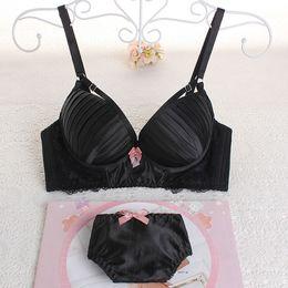 Fashion Style Women Bra Sets Lady Cute Sexy Underwear Satin Japan and South Korea Sweet Diamond Lingerie Side Gather