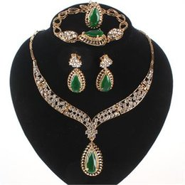 Wedding Accessories Women Bridal 18k Gold Plated Gem Crystal Necklace Bracelet Ring Earring Jewelry Sets 3Colors