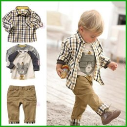 Wholesale high quality baby boys autumn winter style factory outlet children fashion denim pants t shirt kids clothing set outfit