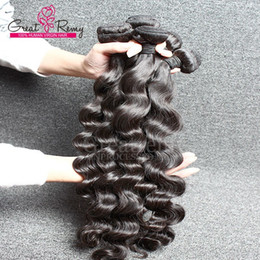 DHgate 4pcs lot Natural Black Loose Curl Wave Remy Virgin Human Hair Extension Top Quality Malaysian Hair Weaving Greatremy Fast Shipping
