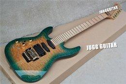 Guitarra de la mano izquierda verde en Línea-Pastillas zurdos Jack Hijo PC1 Phil Collen Qulit arce cloro poner crema verde de la guitarra eléctrica de Floyd Rose Tremolo activas batería de 9V Caja posterior