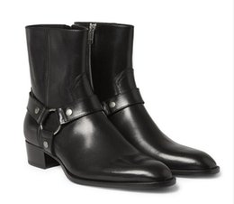 Wholesale Man Fashion Slp Classic Wyatt Harness Boots In Black Leather Personalized Men s Martin Boots Cowboy Boots