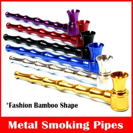 Wholesale Sharpstone Long Section Smoking Pipes Bamboo Rod Shape Metal Pipes Aluminum Smoking Accessories Metal Filter Pipes Portable Mini Pipes