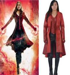 Compra Online Traje de cuero completo-2016 Scarlet bruja cosplay Capitán América Civil Scarlet bruja traje para mujeres adultas Scarlet bruja chaqueta de cuero conjunto completo trajes personalizado