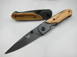 Top quality Benchmade DA44 survival Pocket folding knife Wood handle Titanium finish Blade tactical knife EDC Pocket knife knives