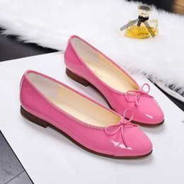 Wholesale The same style CH small round head flat sheepskin flat sheet with ballet shoes small sweet bowknot leather shoes Light mouth single shoes