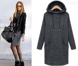 Fashion Autumn Winter Dress Loose Thick Fleece Pullovers Hoodies Long Plus Size Women Sweatshirt Dress Outwear Coat XL- 4XL Free Shipping