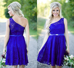 Country Bridesmaid Dresses 2016 New Short For Weddings Lace Royal Blue Knee Length Cheap Sashes One Shoulder Maid Honor Wedding Guest Gowns