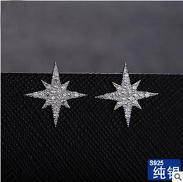 Wholesale S925 sterling silver earring white cubic zirconia stones real rhodium plated top grade fashion jewellery super star stud