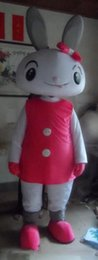 Wholesale SX0728 real picture a grey bunny mascot costume with a pink dress for adult to wear