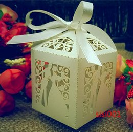 50PCS Laser Cut Bridegroom and bride Wedding Box in Pearlescent Paper box,party show candy box,party shower gifts,Chocolate Box