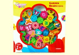 Wholesale English alphabet games, digital beaded game. Garden beaded wooden educational toys for children.
