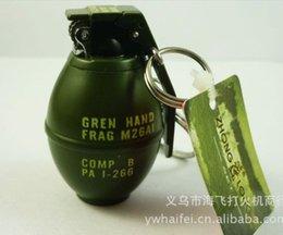 Wholesale Novelty Lighter Flint antitank grenade Shape refillable butance gas lighter Trick Toys gift