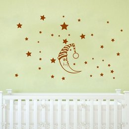 Wholesale DIY Moon Stars Baby Vinyl Wall Stickers nursery Kids room decor decals Mural Art