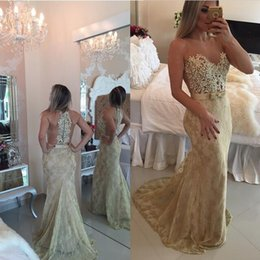 Wholesale 2016 Barbara Melo Sheer Mermaid Lace Prom Dresses Sleeveless bodice with Sash Bow Applqiues Party Dresses