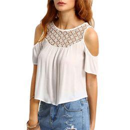 Sexy Crochet Top Summer Blouse Womens Blouses Crochet Neck Open Shoulder Short Sleeve Vintage Cute Blouse