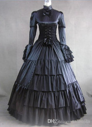 Wholesale Long Sleeves Black Gothic Corset Victorian Style Dress Gothic Cosplay Costume Clothing For Ladies Can Be Costum Made
