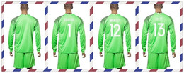 Wholesale Cheap Uniforms Kit European cup Belgium COURTOIS MIGNOLET GILLET Green Goalkeeper Soccer Jersey Long Sleeve Tracksuits