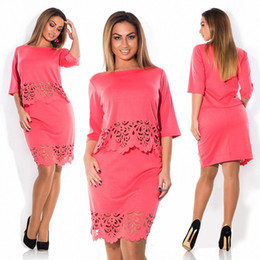 Wholesale Sexy Work Clothing - Elegant Sexy 2 piece set summer women dresses big size NEW 2016 plus size women clothing L-6xl dress casual o-neck bodycon Dress