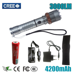 Wholesale hot sale Self Defense LED flashlight Cree XM L T6 Rechargeable LM powerful Tactical Torch lamps mAh battery AC Charger