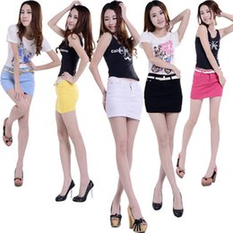 Wholesale 13 candy color Summer Casual High Waisted Shorts Jeans Fashion elastic spandex Mini plain Shorts Skirt