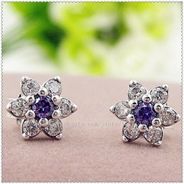 100% High-quality 925 Sterling Silver Forget Me Not Stud Earrings with Purple & Clear CZ Stud Earrings Fits European Charm Jewelry Earrings