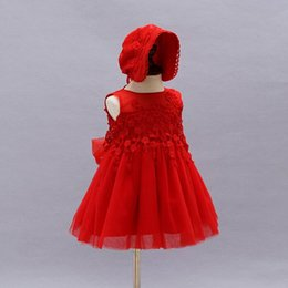 Retail Baby Girls Dresses Baby baptism Gown Lace Princess Tutu Dress With Cap 0-2years 9030BB