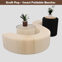 H42xL600cm Novel Innovation Furniture Pop - Smart Bench Indoor Universal Waterproof Accordion Style Foldable Kraft Chair For 12 Seats 71-104