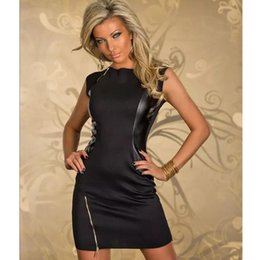 Promotion mini-roches Fashion New Black Rock design Dress Top en cuir PU Sexy Dance Club Wear style patchwork Femmes Vêtements Nouveauté Robes Zipper
