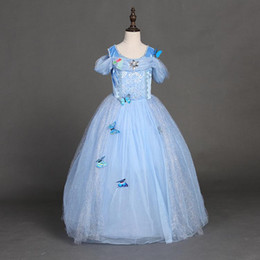 Wholesale snowflake diamond cinderella dress fancy dress costumes for kids blue cinderella gown Halloween baby girl butterfly dress in stock