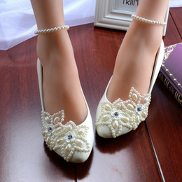 White Five-Star Pearls Wedding Shoes 2016 Rhinestone Beaded Anklet Bridal Shoes Flatforms Bridesmaid Shoes Handmade Prom Party Shoes Women