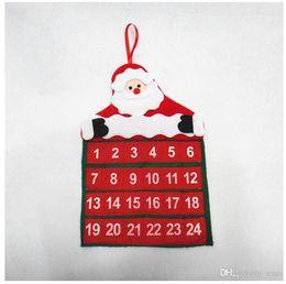 Wholesale Santa Claus Father Christmas Advent Calendar Countdown Xmas Decor Fabric Pockets Christmas Decoration Supplies for HOME