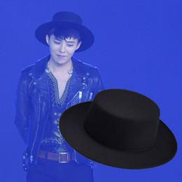 Vente en gros-style GD bigbang mode vintage britannique hommes laine noir chapeau de mode de bateau wholesale boater hat promotion à partir de gros canotier fournisseurs