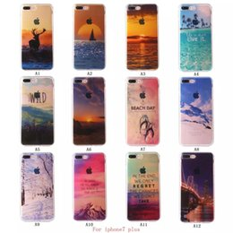 Wholesale For iphone iphone7 Half Clear TPU Scenery Case Sky Mountain Shoe Ocean View Back Skin Soft Phone Cover for iphone s Plus