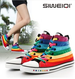 SIWEIQI Fashion Women Canvas Shoes with Striped Rainbow Color Women Casual Flats Shoes All-match Ankle Shoes for Girls