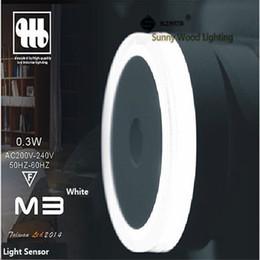 0.3W 50mm round 200-240Vac LED light sensor Socket night lamp ,brightness detect automatical wall lamp