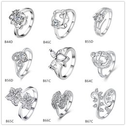 mixed style fashion white gemstone 925 silver plate ring EMGR19, Maple Leaf sunflower plated sterling silver ring 10 pieces a lot