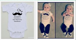 2016 New Infant Cartoon Little Moustache Rompers Baby Summer Letters Printed Jumpsuits Toddler Short Sleeve Onesies Newborn Cotton One-Piece