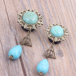 Wholesale New Fashion Flesh Dangle triangle Design Ear Plugs and Tunnels Ear Piercing Gauges Drop Turquoise Expanders Body Jewelry size