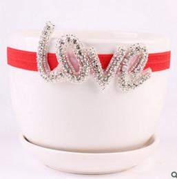 Wholesale 2016 fashion newborn creative DIY jewelry LOVE infant baby headbands elastic rhinestone headband Children girl hair accessories